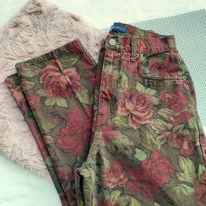 Vintage Floral Print Taper Leg Hi Rise Jeans Fall